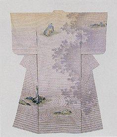 "1985 Formal kimono with yuzen dyework on tsumugi weave titled ""Twilight"" by National Living Treasure Hata Tokio -"