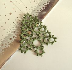 Pretty & the added beads will sparkle on the tree—Green Beaded Christmas Ornament by TataniaRosa
