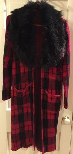 Red and Black Plaid Tartan Jacket Sweater w/Black Faux Fur Collar Coat Women's  #Handmade #BasicJacket