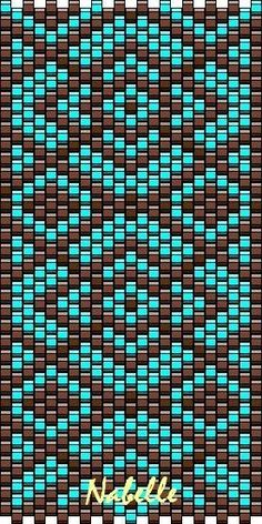 Grille turquoise chocolat - Les 1001 trésors d'Annabelle Hallo an dich! Peyote Beading Patterns, Peyote Stitch Patterns, Seed Bead Patterns, Beaded Bracelet Patterns, Loom Beading, Peyote Stitch Tutorial, Loom Bracelets, Bead Earrings, Bead Jewelry
