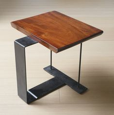 Pierre Chareau, side table, model patinated iron and African mahogany 18 x 19 x 19 in. x x cm) circa 1927 Cube Furniture, Welded Furniture, Iron Furniture, Steel Furniture, Industrial Furniture, Furniture Design, Wood Shop Projects, Coffee Table Design, Metal Chairs