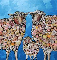 Sheep Family in Metallic Aqua Marine - Eli Halpin