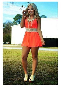 Bright orange sun dress