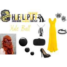 Hufflepuff - Yule Ball by lumos394 on Polyvore featuring Nicholas Kirkwood, Anya Hindmarch, Effy Jewelry, Topshop, harry potter, hufflepuff, yule ball and yellow
