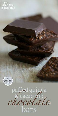Sugar-free Puffed Quinoa & Cacao Nib Chocolate Bars by An Unrefined Vegan.