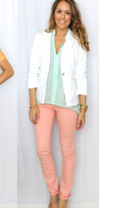 Mint top and white jacket