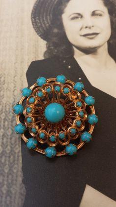 Vintage 1950s Turquoise Glass Round Gold Tone by VintageGoodsToGo