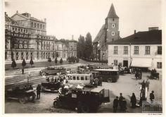 Kraków, dworzec autobusowy na placu Św. Ducha, fot. Stanisław Mucha (ok. 1930)