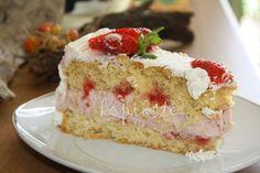 White Chocolate and Strawberry Mousse Cake  Τούρτα με Λευκή Σοκολάτα και Μούς Φράουλας http://www.kopiaste.info/?p=1137  #ΤούρταΓενεθλίων #BirthdayCake #Stawberries