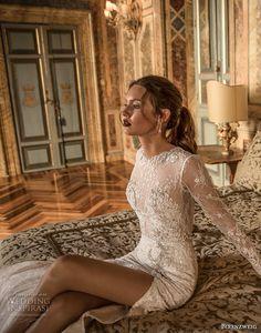 birenzweig 2018 bridal long sleeves jewel neck full embellishment side slit skirt elegant fit and flare wedding dress open back short train (7) zv -- Birenzweig 2018 Wedding Dresses