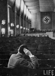 Hitler at the orchestra rehearsal at Leopoldhall in Munich. Taken in 1938.
