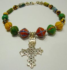 Ethiopian silver cross and African trade beads