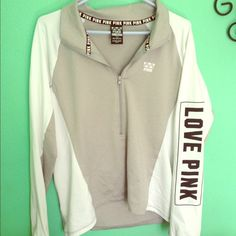 VS PINK ultimate deep v zip! Grey and white! Only worn once! Perfect condition! Has thumb holes and a small zipper pocket in the back! This price is firm. Willing to trade for other vs pink items size large!:) PINK Victoria's Secret Tops Sweatshirts & Hoodies