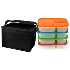 EasyLunchboxes 3-compartment BPA free Bento Containers (Set of 4) with insulated, non-vinyl Lunch Cooler Bag, Black $21.90 on amazon