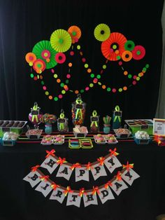 Neon Glow in the Dark Birthday Party dessert table!  See more party planning ideas at CatchMyParty.com!