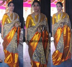 Grey and Yellow Kanjeevaram Saree – South India Fashion Indian Bridal Photos, Indian Bridal Fashion, Kanjipuram Saree, Saree Dress, Grey Saree, Yellow Saree, White Saree, Indian Fashion Trends, India Fashion