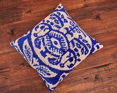 ikat fabric throw pillow ikat cushion suzani decor by DecorUZ Velvet Upholstery Fabric, Ikat Fabric, Velvet Cushions, Handmade Pillows, Decorative Pillows, Printed Silk Fabric, Blue Throws, Ikat Pillows, Clouds