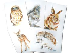 Woodland Animal Watercolor Card Set Greeting Cards by SusanWindsor, $12.50  Imagine them framed on the wall!