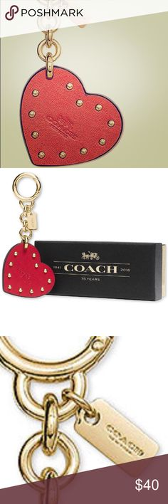 Gorgeous NWT gift box Coach studded heart FOB Gorgeous NWT gift box Coach studded heart FOB will bundle for a great discount also if you want all keychains big discount Coach Accessories Key & Card Holders