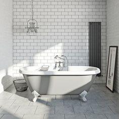 Dove grey coloured bath with Hampshire shower bath mixer tap