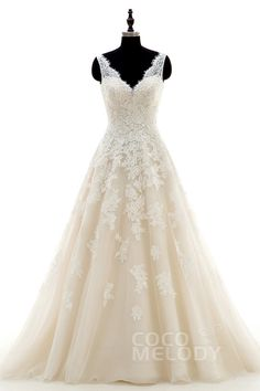 Chic A-Line V-Neck Natural Court Train Tulle and Lace Ivory/Champagne Sleeveless Open Back Wedding Dress with Appliques CWAT16004