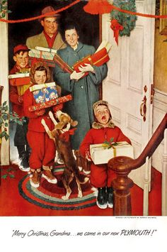by Norman Rockwell. - Delivering gifts at Christmas was so much fun.