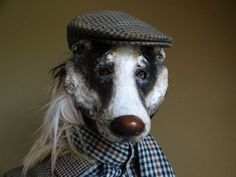 Paper mache badger mask animal head mask by MiesmesaBerni on Etsy $118