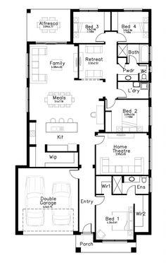 Oxford - Dechellis Homes 5 Bedroom House Plans, Floor Plan 4 Bedroom, Basement House Plans, Dream House Plans, Modern House Plans, House Floor Plans, Single Storey House Plans, Best Home Design Software, Ventura Homes