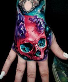 Pink skull & crystals hand tattoo by Tyler Malek an artist based in Salem Skull Hand Tattoo, Free Hand Tattoo, Skull Tattoos, Body Art Tattoos, Tattoo Art, Tattoo Drawings, Galaxy Tattoo Sleeve, Sleeve Tattoos, Hand Tattoos For Girls