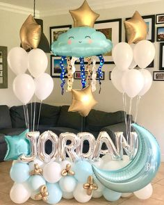 Balloon inspiration for a baby shower, new baby or first birthday party Deco Baby Shower, Baby Shower Parties, Baby Shower Themes, Baby Boy Shower, Welcome Baby Party, Welcome Baby Boys, Baby Ballon, Baby Shower Balloons, Baby Boy Balloons