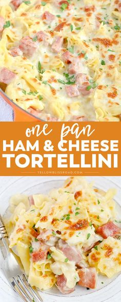 One Pan Ham Cheese Tortellini is super creamy and flavorful, and cooked all in one pan for a quick, family-friendly weeknight meal with easy clean up. chicken recipes dinners,cooking and recipes Pasta Dishes, Food Dishes, Main Dishes, Pork Recipes, Cooking Recipes, Recipes With Ham, Cooking Games, Honey Recipes, Cooking Classes