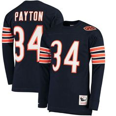 Walter Payton Chicago Bears Mitchell & Ness Throwback Name & Number Long Sleeve T-Shirt - Navy - $109.99