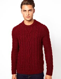 Red Cable Knit Turtleneck Sweater.. Reminds me of the Sheep-Wool ...