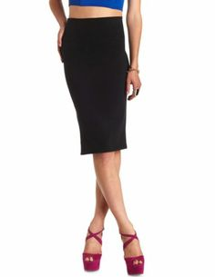 High-Waisted Bodycon Midi Skirt: Charlotte Russe