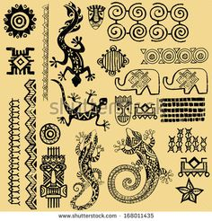 African animals.African Seth. African infographics Tribal set - stock vector