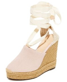 urban canvas wedge espadrilles by Castaner. Effortless Castaner wedge espadrilles in sturdy canvas. Lace-up ribbons wrap the ankle. Braided-jute wedge and platfo...