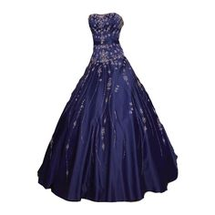 polypics - Gowns ❤ liked on Polyvore featuring dresses, gowns, vestidos, long dresses, blue ball gown, blue dress, blue gown and blue evening dress