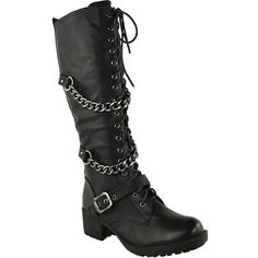 Fashion Thirsty Womens Knee High Mid Calf Lace Up Biker Punk Military... ($40) ❤ liked on Polyvore featuring shoes, boots, biker boots, punk combat boots, army boots, punk boots and mid calf boots