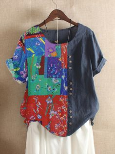 Embroidered Hollow Solid Color Half Sleeve Vintage Blouses look not only special, but also they always show ladies' glamour perfectly and bring surprise. Spring Blouses, Spring Shirts, Plus Size T Shirts, Plus Size Blouses, Blouse Vintage, Traditional Outfits, Casual Tops, Half Sleeves, Fashion Prints