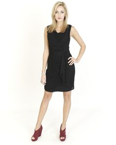 Black Dresses - Jersey Drape Black Dress - http://www.blackdresses.co.uk