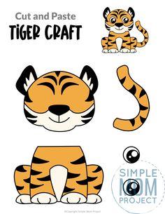 Safari Animal Crafts, Jungle Crafts, Giraffe Crafts, Tiger Crafts, Animal Crafts For Kids, Safari Animals, Animals For Kids, Cutting Activities For Kids, Craft Work For Kids