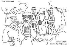 Coloring Page: Judas Betrays Jesus in the Garden of Gethsemane