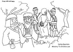 This free coloring page shows Jesus in the Garden of Gethsemane during his arrest.  The illustration pictures Jesus being led away by two soldiers while Judas receives a bag of gold from a Jewish o…