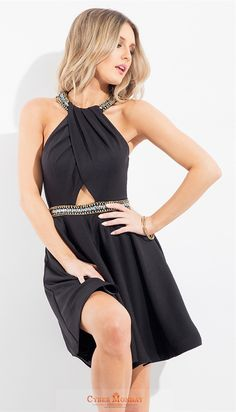 Scoop Homecoming Dresses A Line Spandex With Beading Item Code: #CMDP47745Y7