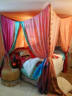 Boho Bed Canopy Gypsy Hippie Hippy HippieWild Patchwork India Sari Scarves Bedroom Decor Bohemian Chic Dreaming in Pink
