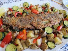 Pan-Fried Trout Brunch with Red Pepper-Zucchini Potatoes and Fried Eggs