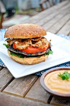Grilled Portobello Burgers with Chipotle Mayo & Onion Strings #vegan - I've already pinned this but it's so good I'm pinning it twice.