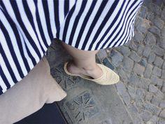 // striped maxydress and maroccan raffia mules