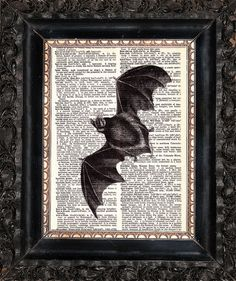 Check out this item in my Etsy shop https://www.etsy.com/listing/484658351/bat-on-dictionary-page-upcycled-book-art