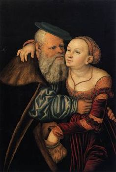 The Ill-Matched Lovers - Lucas Cranach the Elder.  1531.  Oil and tempera on wood.  Academy of Fine Arts, Vienna, Austria.